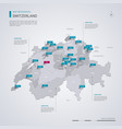 switzerland map with infographic elements pointer vector image