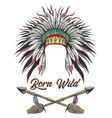 war bonnet and arrows tattoo vector image vector image