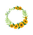 wreath with sunflowers floral round border with vector image vector image