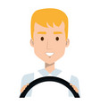 young man driving with steering wheel vector image
