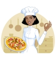 African american cook girl with pizza on plate vector image