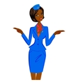 African Flight Attendant Showing Emergency Exits vector image vector image