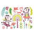 baby cute zebra girl watercolor nursery vector image