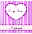 Baby shower with heart banner twins vector image