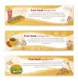 Banner set of vintage fast food backgrounds vector image vector image