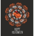 Banner with the cute pumpkins and round shaped vector image