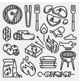 Barbecue and grill thin line icons vector image vector image