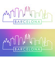 barcelona skyline colorful linear style editable vector image