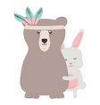 bear grizzly and rabbit with feathers hat boho vector image vector image