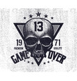 black and white skull vector image vector image