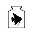 black silhouette of aquarium fish in a jar with vector image vector image