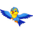 cartoon happy little bird flying vector image vector image