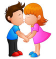 cartoon little boy and girl kissing vector image