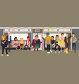 cartoon people in underground train vector image vector image