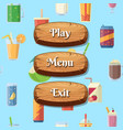 cartoon style wooden buttons with text vector image vector image