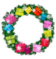christmas wreath with bright multicolored gift vector image