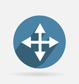 Circle blue icon with shadow the move arrows vector image