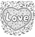 coloring page for adults with mandala and love vector image vector image