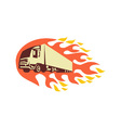 Container Truck and Trailer Flames Retro vector image vector image