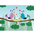 Couple of birds and hearts pattern on love vector image vector image