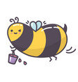 cute kawaii bee flying with bucket full nectar vector image