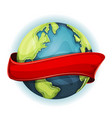 earth planet with ribbon vector image vector image