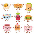 fast food cartoon characters set delicious dishes vector image