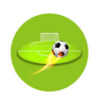flying football shooting at goal vector image vector image