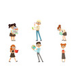 funny boys and girls nerds collection smart vector image vector image
