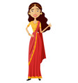 glad young indian woman showing thumbs vector image