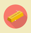 Gold ingot flat icon vector image vector image