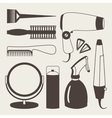 Hair accessories and barber tools grey icons vector image