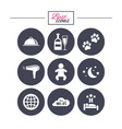 hotel apartment service icons restaurant sign vector image vector image
