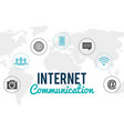 internet connection with social media icons vector image vector image