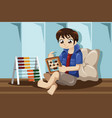 kid playing with abacus vector image