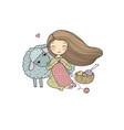 knitting girl and a cute cartoon sheep vector image vector image