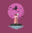 lighthouse with witch flying over moon vector image vector image