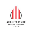 line art building architecture logo vector image