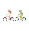 little kids riding a bicycle isolated on white vector image vector image