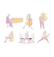 music concert rock musicians and orchestra players vector image vector image