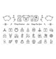new year icons pig icons and 2019 year number vector image vector image