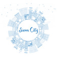 outline sioux city iowa skyline with blue vector image vector image