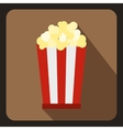 Popcorn in striped bucket icon flat style vector image vector image