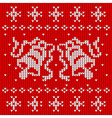 Red knitted sweater with two bells vector image