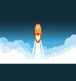 rocket launch and smoke through cloud into space vector image vector image