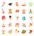 school life icons set cartoon style vector image vector image