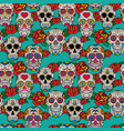 seamless pattern with sugar skulls and roses dia vector image vector image