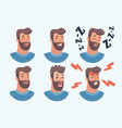 set avatars male characters people faces man vector image vector image