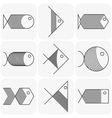 set black fish icons on white background vector image vector image