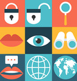 set flat design icons lock search globe message vector image